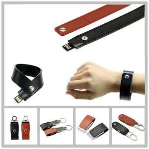 Cuero de la PU pulsera USB Flash Drive 32GB 16GB 8GB 4GB Pen Drive unidad de memoria Flash USB tarjeta USB   USB PenDrive pulsera