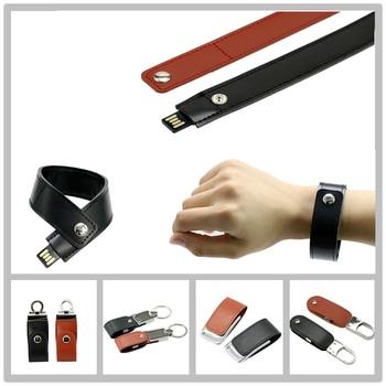 PU Leather Wristband USB Flash Drive 32GB 16GB 8GB 4GB Pen PenDrive Memory Card Stick Bracelet