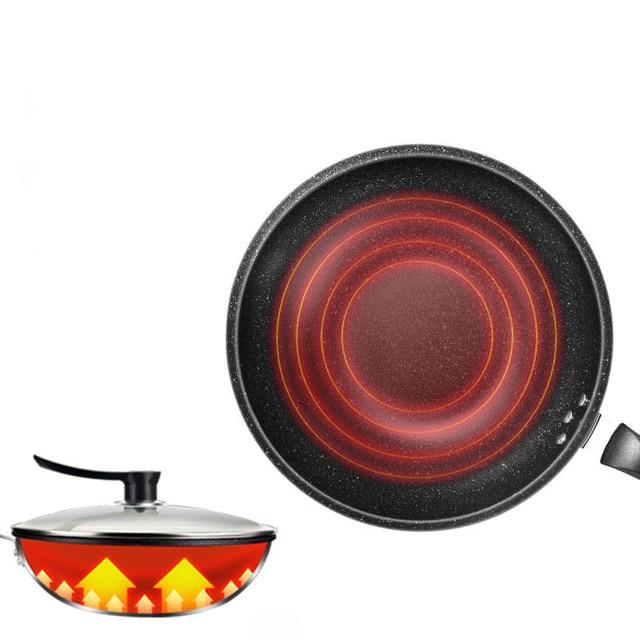 Wok poêle antiadhésive à fond plat | Poêle sans huile, cuiseur à fumée de gaz, poêle de cuisine antiadhésive