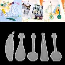 Dikdörtgen tüy müzik enstrümanı şekli yer işareti epoksi reçine kalıpları DIY el sanatları kalıp ev dekorasyon takı yapma malzemeleri