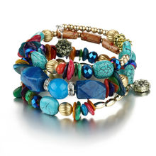 Natural Stone Beads Bracelets For Women Wing Tassel Charm Bracelets & Bangles Set Boho Vintage Jewelry Collares De Moda Ketting(China)