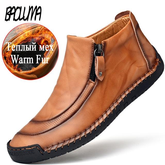 Winter Men Snow Boots High Quality Leather Man Ankle Boots Snow Warm Fur Men Shoes Zip Plush Autumn Basic Driving Shoes Big Size