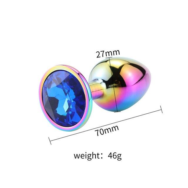 Size Rainbow diamond anal plug dark blue diamond