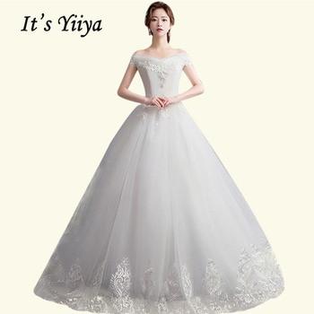White Wedding Dress It's Yiiya BR694 Elegant Boat Neck Vestidos De Novia Lace Train Wedding Dresses Plus Size Bridal Gowns