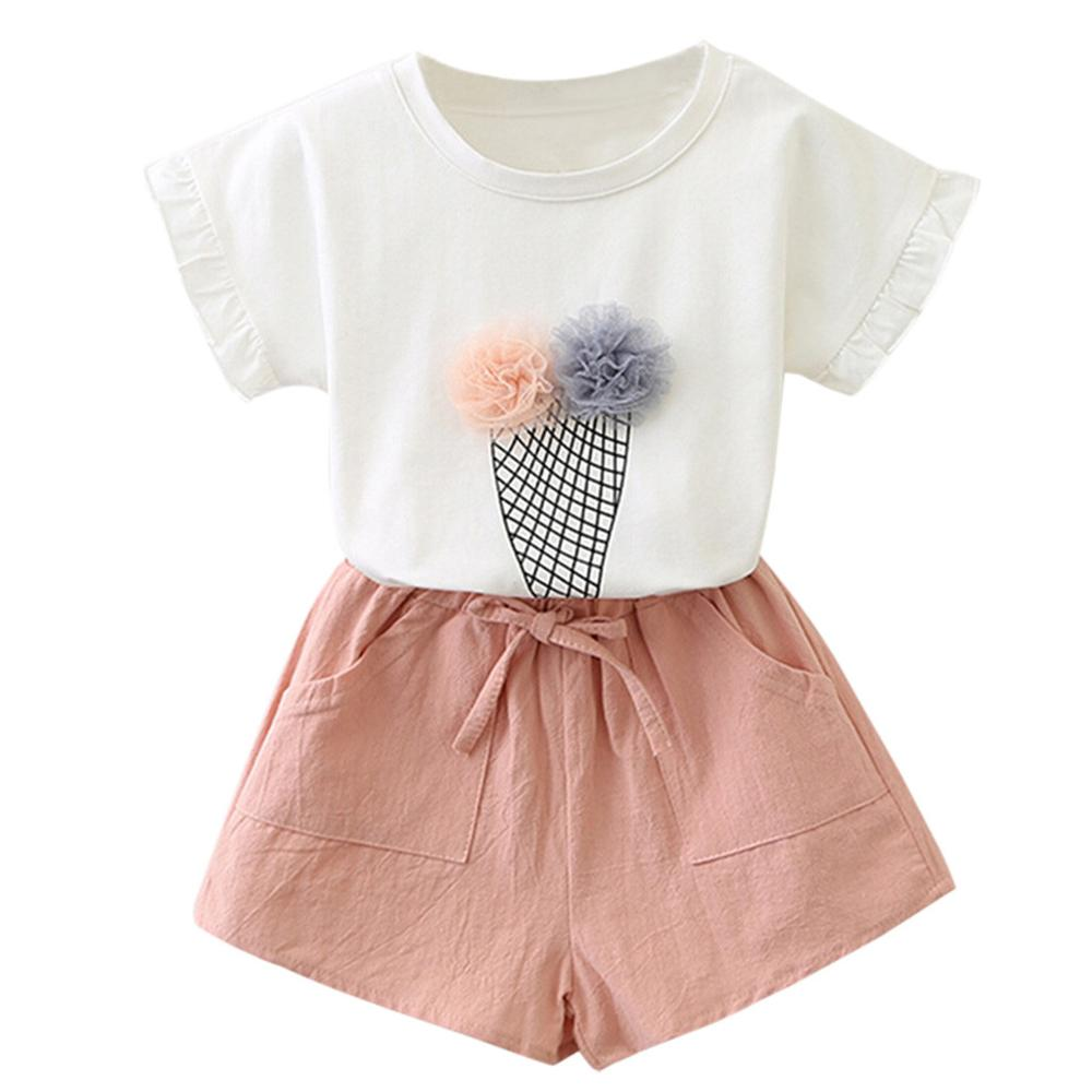 Newest USA Newborn Baby Girls Tops +Flower Pants 2 Pieces Sets Clothes Outfits Set Casual Clothes 2T-6T Conjunto Infantil