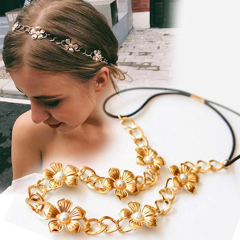 Korea Elegant Imitation Pearl Headband Women Fashion Metal Flower Elastic Hair Bands For Girls Hair Accessories Wedding Hairband