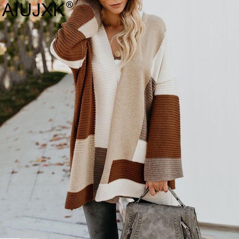 AIUJXK 2019 Oversized Cardigan Women Fashion Geometric Patchwork Sweaters Autumn Winter Female Casual Knitted Cardigans Coat