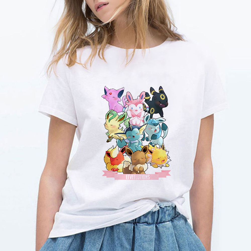new-women's-t-shirt-eevee-evolution-font-b-pokemon-b-font-gamer-girl's-short-sleeve-tshirt-harajuku-hip-hop-tees-tops