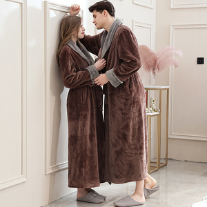Image 4 - Frauen Winter Plus Größe Lange Flanell Bademantel Kimono Warme Rosa Bad Robe Nacht Pelz Roben Brautjungfer Morgenmantel Männer Nachtwäsche