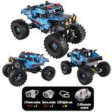 Miasto 4WD SUV pilot Monster wspinaczka samochodowe klocki budowlane RC pojazd terenowy Buggy Trucks cegły zabawki dla dzieci