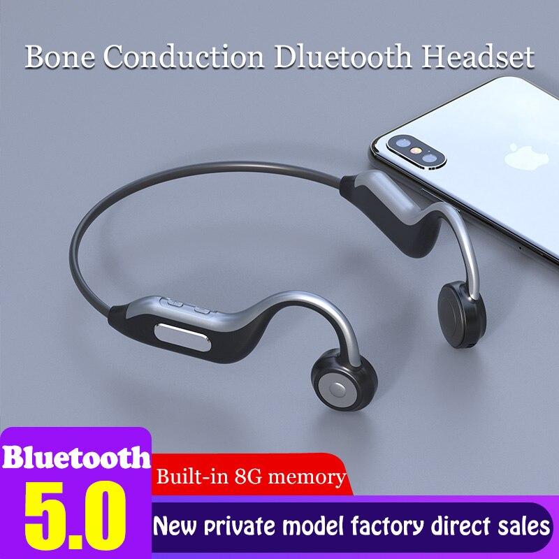 Гарнитура Bluetooth с костной проводимостью, беспроводные наушники с mp4-плеером, с памятью 8 ГБ, водонепроницаемая Музыкальная гарнитура с микро...
