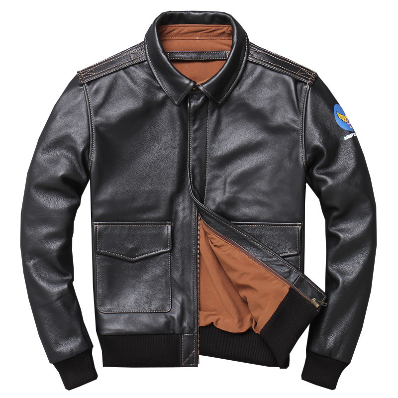 Military Pilot Jacket Air Force Flight A2 Men Genuine Real Cow Leather Motorcycle Winter Cowhide Aviator Jacket Coat