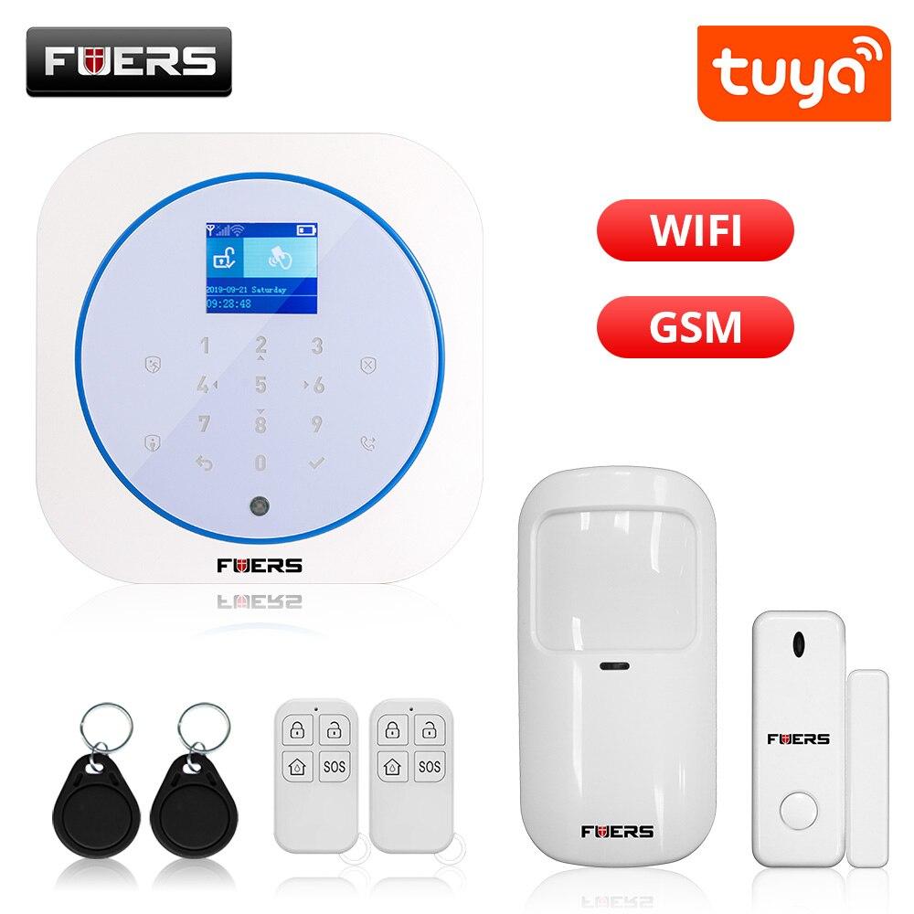 FUERS WIFI GSM Alarm System Wireless Home Burglar Security Alarm System Tuya APP Control Siren Motion Detector PIR Smoke Sensor