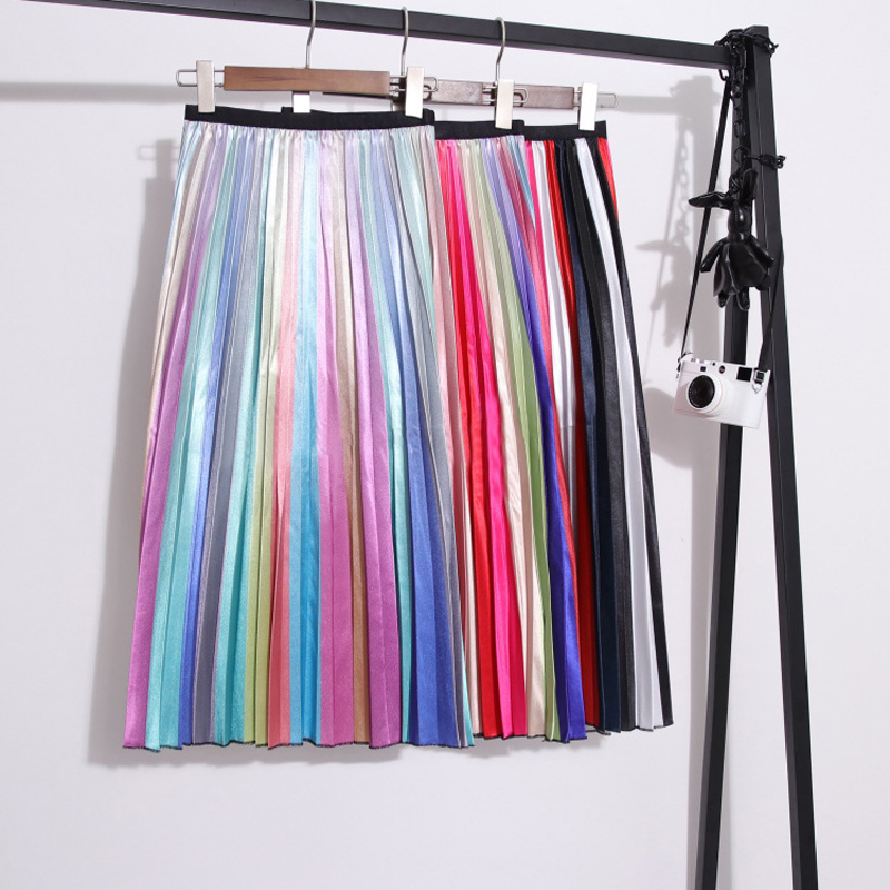 LAUZUOLA 2020 Autumn Summer Womens Skirts A-line Mid-Calf High Waisted Strechy Rainbow Striped Skirt High Street Style