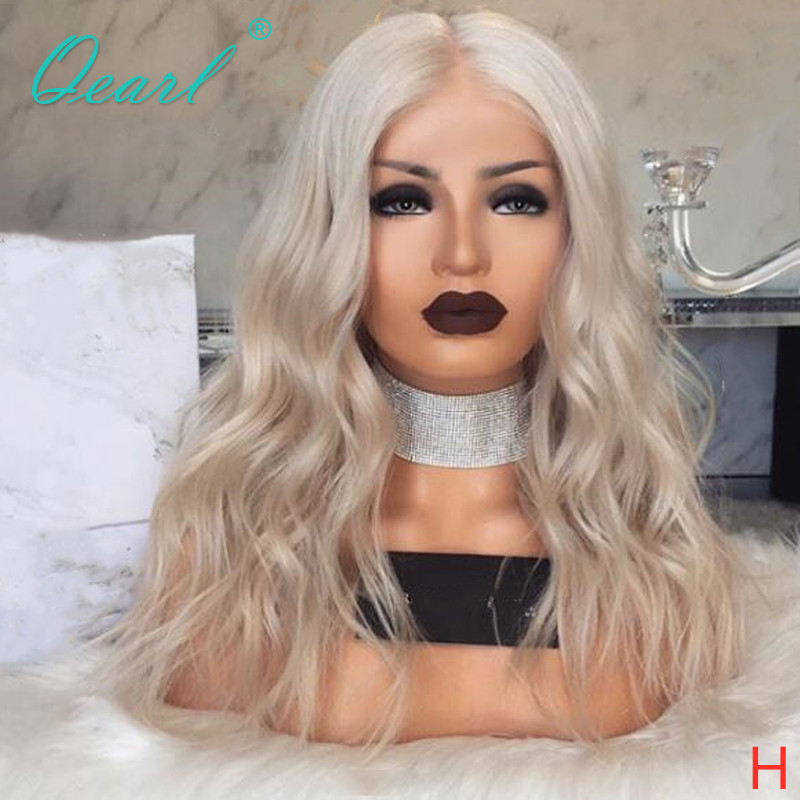 Transparent Clear Lace Full lace Wig Ashy Platinum Blonde Color Human Hair Wigs Preplucked Wavy Remy Hair 130% 150% Qearl
