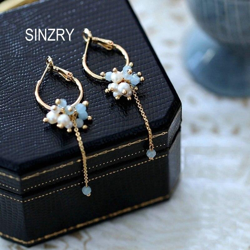 SINZRY Creative Handmade Jewelry Creative Elegant Natural Pearl Blue Dangle Earrings For Women