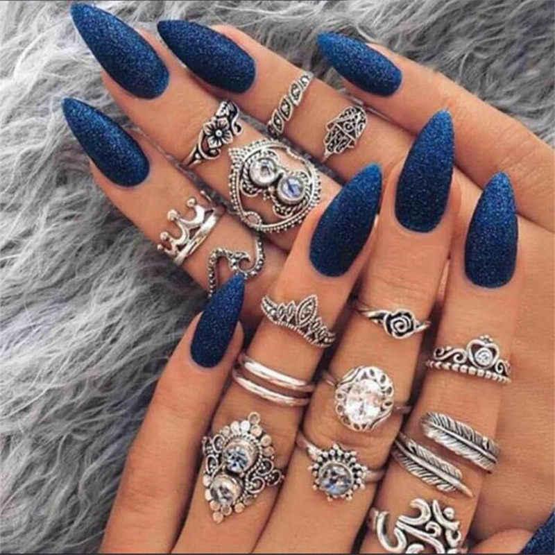 ผู้หญิง Boho Vintage เงินเงินแหวนหินชุดผู้หญิงแฟชั่นเครื่องประดับ Bohemian 2019 ใหม่ร้อน