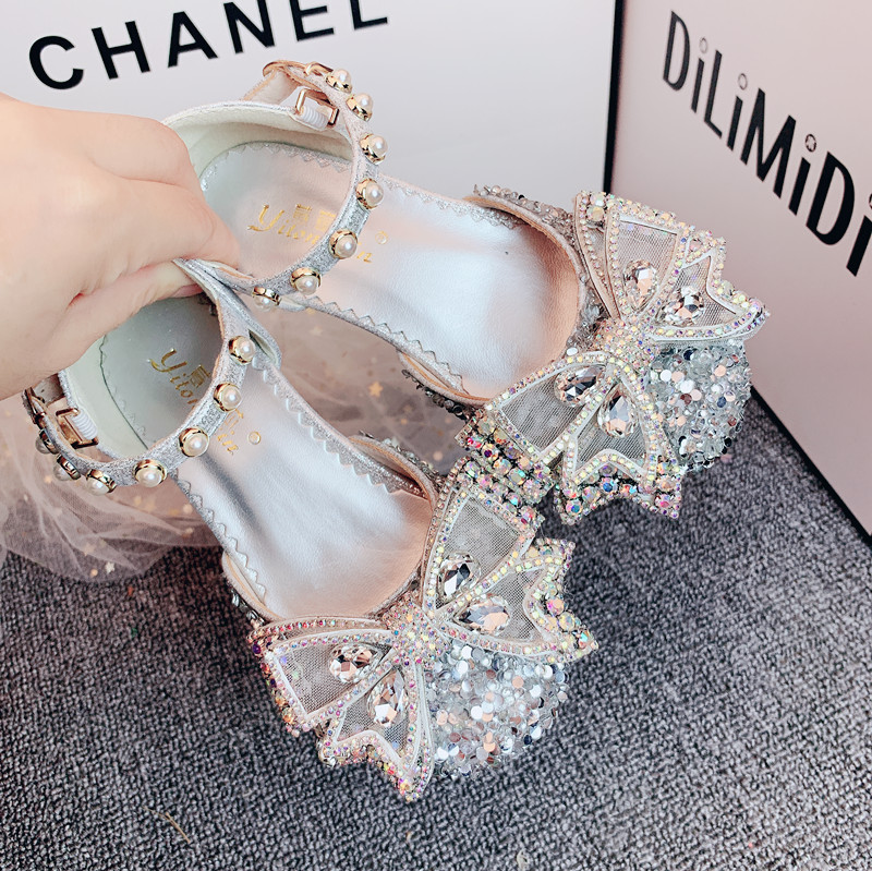 Spring Girls' Princess High Heels Children's Shoes Flash Drill Bow Flower Children's Fashion Shoes Wedding Shoes   Unicorn