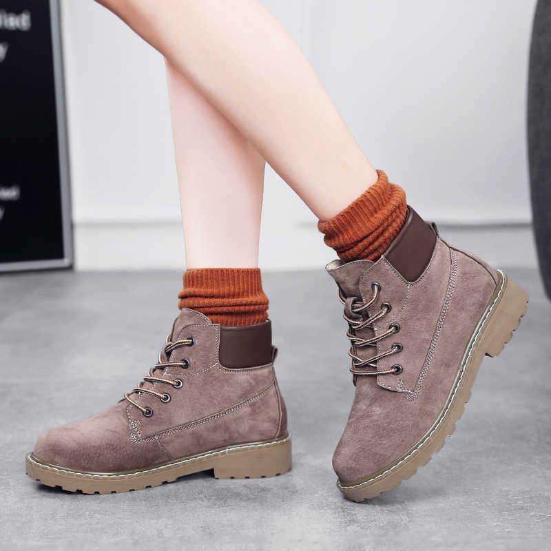 2019 ผู้หญิงรองเท้าบู๊ทใหม่แฟชั่นหนังฤดูใบไม้ร่วงสีดำรองเท้าบูทรอบ Toe ผู้หญิงทำงานรองเท้าอุ่นฤดูหนาว lace Up