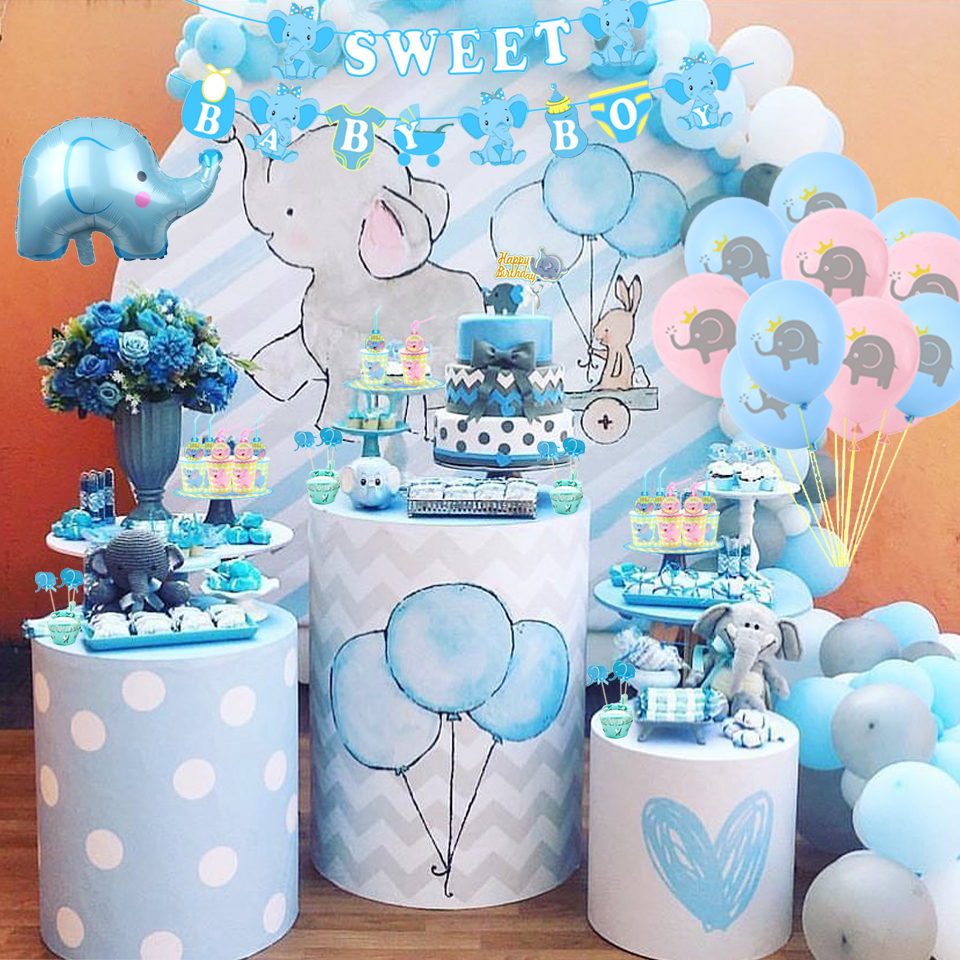 1SET Elephant Baby Shower/Gender Reveal Decoration Cartoon Balloons Cake Toppers Candy Box Happy Birthday Picks Party Supplies