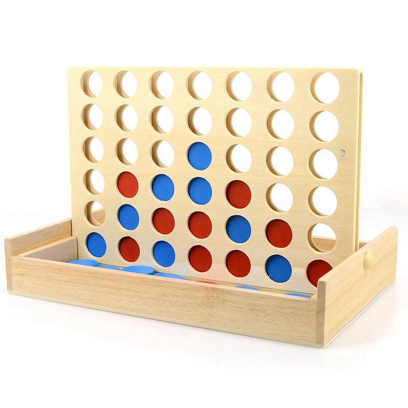 Hot-Four In A Row Wooden Game Line Up 4 Classic Family Toy Board Game For Kids And Family Fun Toys