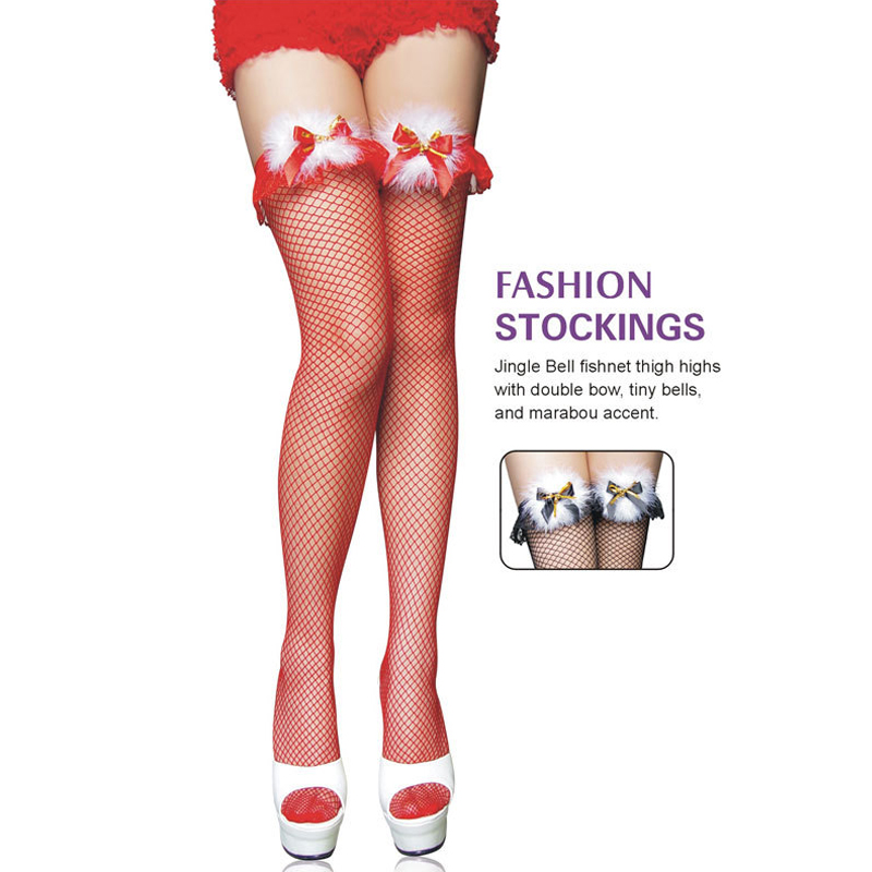 Women Girls Sexy Christmas Party Knee Socks Fishnet Stockings Bow Feather Fashion Decoration Red Black  2 Colors