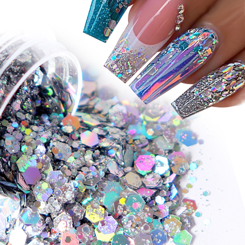 Holographic Glitter For Nail Decorations Mix Laser Hexagon Shape Sparkly 3D Nail Sequins For Nail Art Accessories