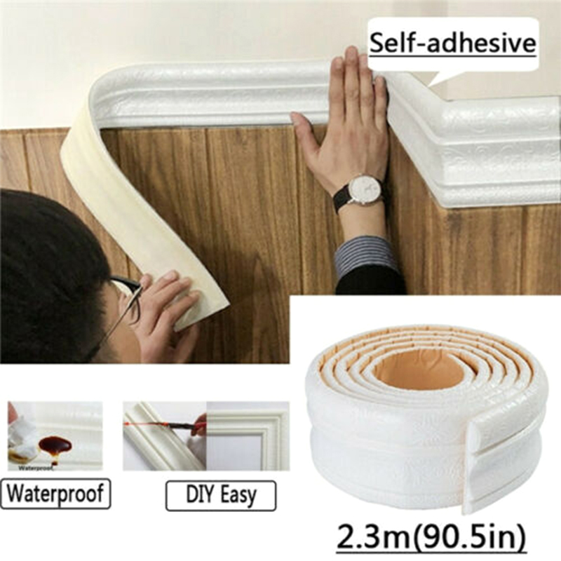 Wall Trim Line Skirting Border 3D Pattern Sticker Decor Self Adhesive Waterproof Strip I88 #1