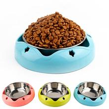 Dogs Feeder 2in1 Stainless Steel Bowls Non-slip Pet Feeding Dish Anti-fall Cat Dog Drinking Water Puppy Single Food