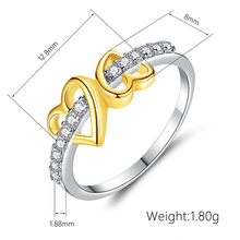 Women Ring Fashion Hollow Heart Zircon Gold Engagement Ring For Woman Two Tone Rhinestone Wedding Rings For Women Jewelry Ring rhinestone engagement hollow out ring