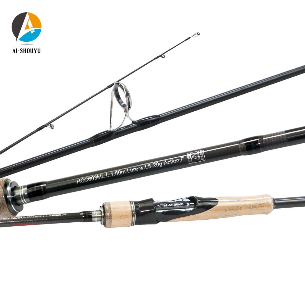 AI SHOUYU New 1.8m 2.1m 2.4m 2.7m 3 section Baitcasting Fishing Rod Travel Ultralight Casting Spinning Lure 5g 40g M/ML/MH Fishing Rods     - title=