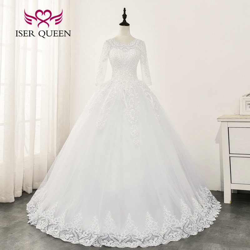 3/4 Sleeves Beautiful Lace Appliques Wedding Dress Ball Gown 2020 Wedding Gowns New Pure White Color Wedding Dresses WX0162