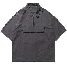 Hip Hop Front Pocket Short Sleeve Shirts Street Men Casual Half Zipper Pullover Male Turn-down Collar Shirt