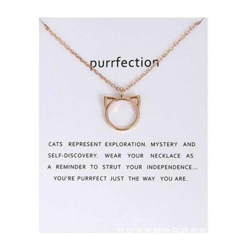 Orejas de gato colgante de collar para regalo joyería de moda Cadena de plata de oro Animal hueco lindo Metal o-chain Party