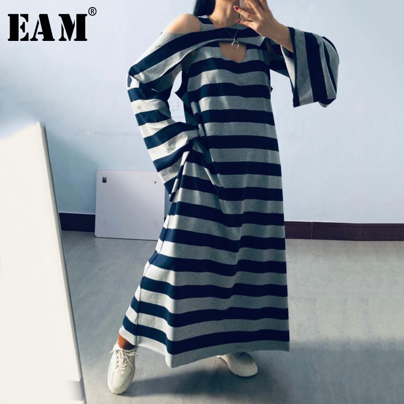 [EAM] Women Gray Blue Striped Long Big Size Dress New Round Neck Long Sleeve Loose Fit Fashion Tide Spring Summer 2020 1X441