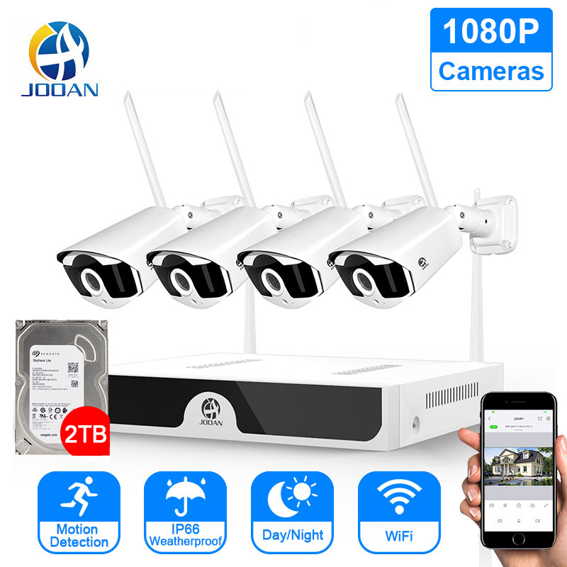 Jooan Outdoor Wireless Surveillance Camera CCTV System  HD 1080P 8CH NVR Set H265 Video Record 2MP IR CUT Wifi Home Security Kit