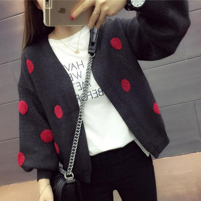 Spring dress women's autumn coat women's long sleeve top cardigan sweater trendy loose show thin wave point sweater 2