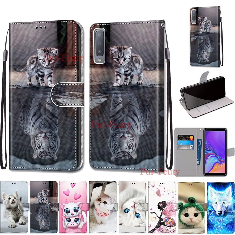 for <font><b>Samsung</b></font> Galaxy A7 2018 SM-A750FN Cover Luxury Flip Wallet Magnetic <font><b>Phone</b></font> <font><b>Case</b></font> for <font><b>Samsung</b></font> A3 <font><b>A5</b></font> A6 A8 A9 2018 <font><b>2016</b></font> shell image