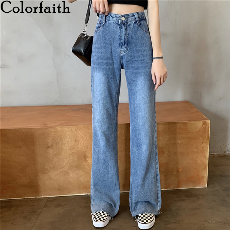 Colorfaith New 2020 Women Spring Summer Jeans High Waist Casual Trousers Straight Denim Streetwear Wide Leg Long Pants J5204