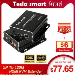 Тесла smart IP сети KVM Extender Высокое качество 120 м USB HDMI ИК по CAT5e/6 TCP/IP