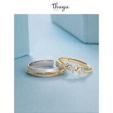 Thaya Silver 925 Jewelry Rings Gold Star Track Rail Original Design For Women Bijoux Female Gift Fine Jewelry