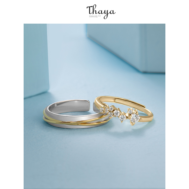 Thaya gümüş 925 takı yüzük altın yıldız parça raylı orijinal tasarım kadınlar için Bijoux kadın hediye güzel takı