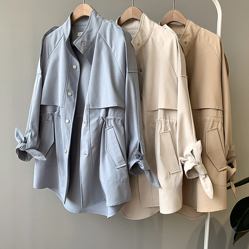 2019 Autumn Trench Coat For Women Streetwear Polyester Mandarin Collar Single Breasted Casaco Feminino With Pocket
