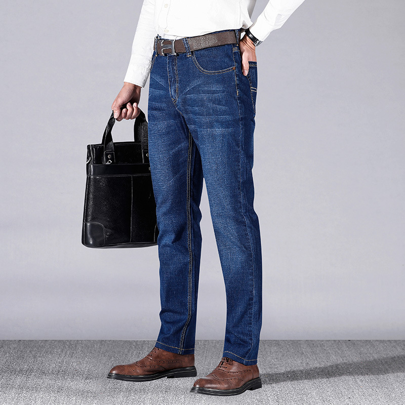 Spring And Summer Fashion Business Jeans Men's Pencil Pants Loose Elasticity MEN'S Casual Pants Middle-aged MEN'S Trousers Fashi