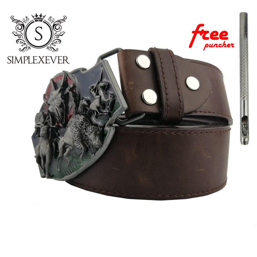 Alloy Bull Head Belt Buckle - Vintage Gunmetal Running Native Western Cowboy Belt Buckles With Belt