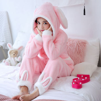 Winter Thick Warm Flannel Pajamas Sets For Women Sleepwear Home Clothing Pajama Home Wear Pyjamas Set 3