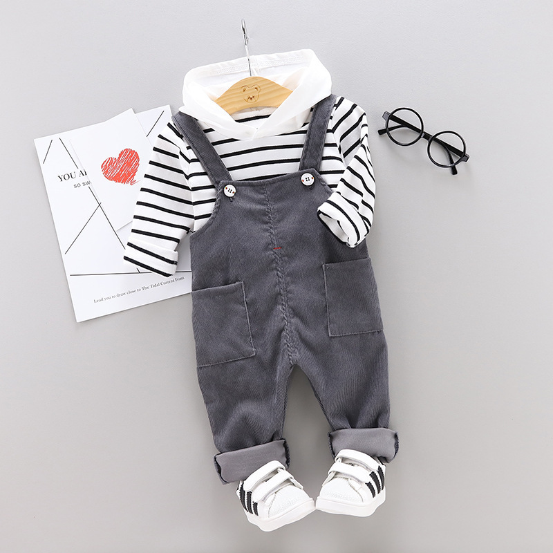 Children BOY'S CHILDREN'S Suspender Trousers Set Childrenswear 2019 New Style Korean-style Cute CHILDREN'S Suit