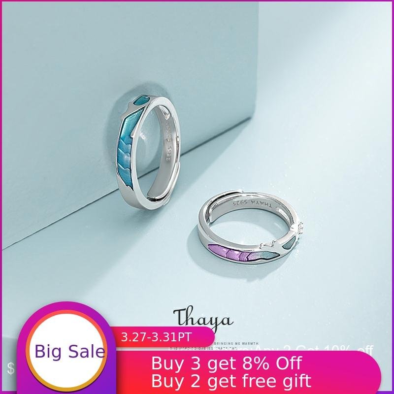 Thaya Coral Sea Shape Adjustable Jewelry 925 Silver Ring Cubic Zircon Round Rings For Couples Engagement Gift