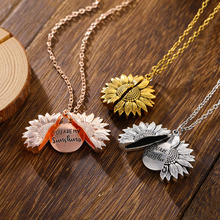EN Vintage Women Necklace Fashion Sunflower Jewelry You Are My Sunshine Pendant Open Locket Lettering Clavicle Chain choker