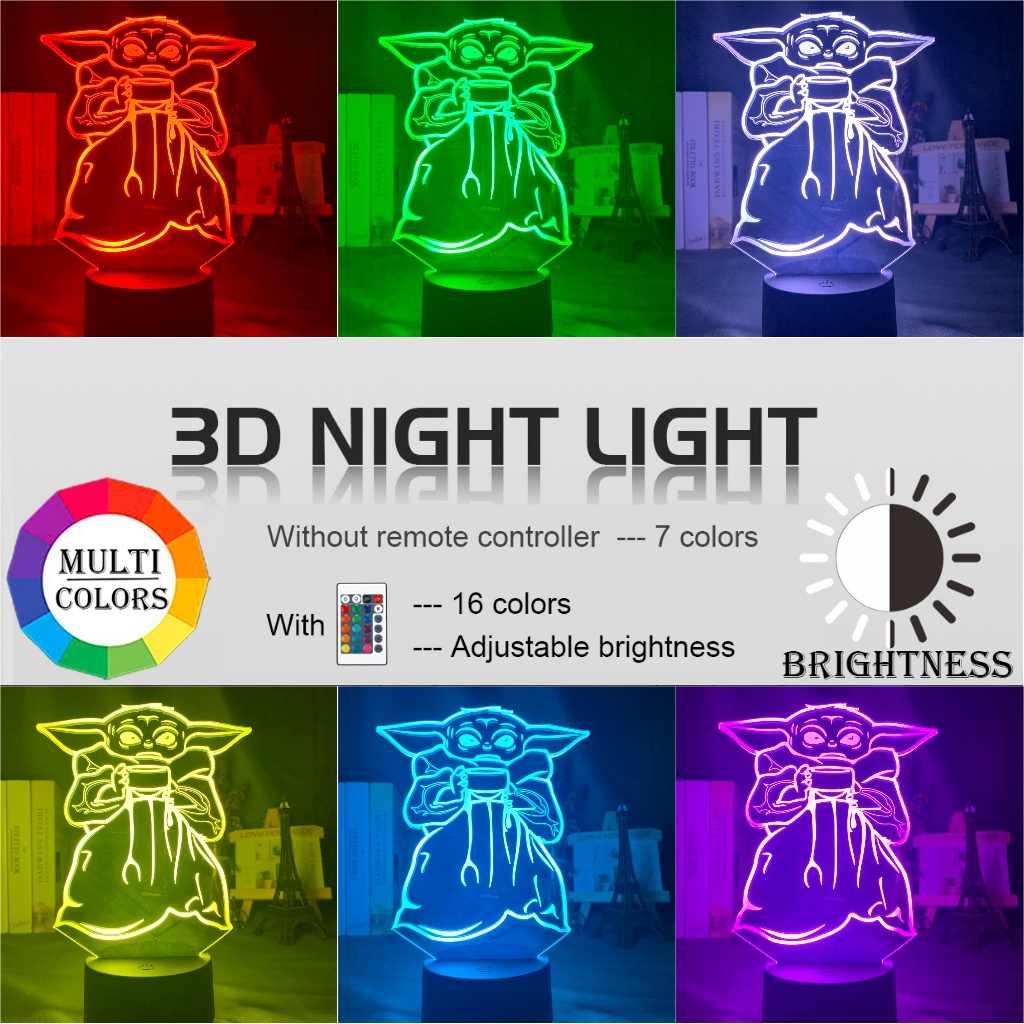 Đèn Ngủ LED Cho Bé Yoda Bát Canh Figurekids Đầu Giường Trang Trí Đèn Đầu Giường LED Để Bàn Con 3D Đèn Mini Yoda meme Có Mặt